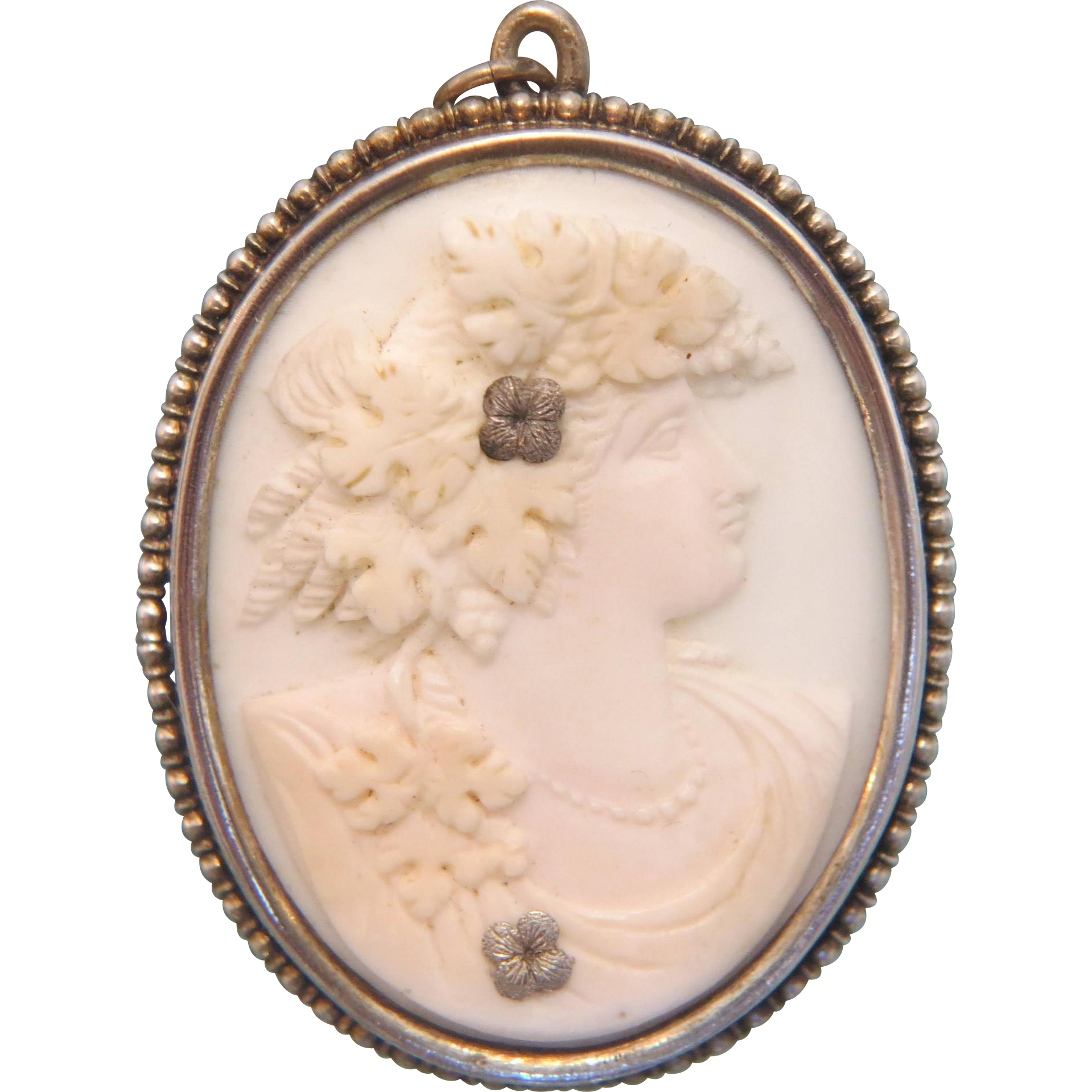 antique coral cameo pendant silver 800 19th century from
