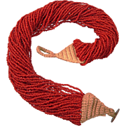 Tomato red Coral bead necklace with 40 strands,ca. 1951-1960