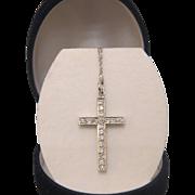 Diamond cross pendant with chain, eighteen karat white gold, ca. 1960