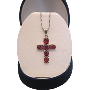 Vintage Pink Tourmaline cross pendant, silver 800, ca. 1960