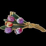 Vintage enamel Tulip brooch, gilt metal, ca. 1950