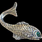 Antique silver fish brooch, ca. 1900