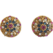 Pair of Coro ear clips with colored Rhinestones, ca. 1960