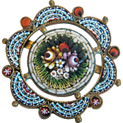 Antique flower Micro Mosaic brooch, gilt silver, 19th century