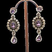 Vintage Amethyst earrings, silver 925, ca.1930