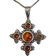 Antique Amber cross pendant, silver 925, 19th century