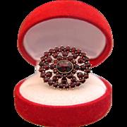 Antique Bohemian Garnet brooch, gilt silver, 19th century