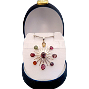 Antique gem stone silver pendant, 19th century