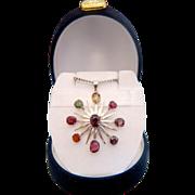 Antique gem stone silver pendant, 19th century
