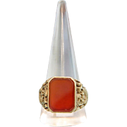 Antique Carnelian ring, gilt silver,19th century