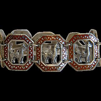 Vintage red enamel bracelet, silver 800, ca.1960