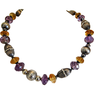 Vintage  Amethyst,Citrine and silver necklace, 20th century