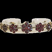Vintage Bohemian Garnet flower bracelet,gilt silver, ca. 1925