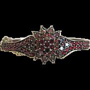Antique Bohemian Garnet bangle, silver 800, 19th century