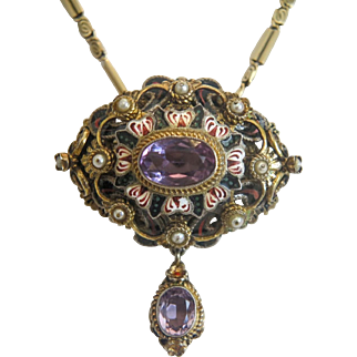 Antique Amethyst pendant/brooch with enamel and cultured pearls, 19th century