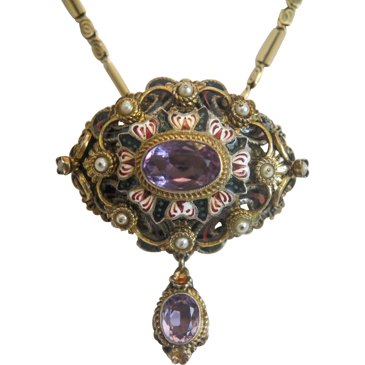 Antique Amethyst Pendantbrooch With Enamel And Cultured. Costume Necklace. Adjustable Chains. Pure Gold Anklets. Designs Beads. David Webb Earrings. Silver Bangles. Flat Heart Necklace. Round Charm Necklace