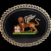 Antique Roman Micro Mosaic brooch, silver 800, 19th century