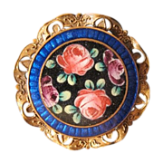 Antique Enamel brooch with roses and leaves, 19th century