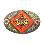 Antique oval Micro Mosaic brooch depicting colourful flowers, 19th century