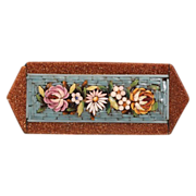 Antique Micro Mosaic brooch depicting colourful flowers ,19th century
