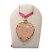 Big Rose Quartz and 14  karat yellow gold heart pendant, dated at about 1960