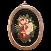 Antique Roman Micro Mosaic pendant depicting roses,set in silver,19th century