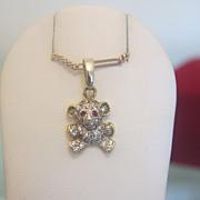 Fourteen karat yellow and white gold mouse pendant set with Zirkonia,ca.1960