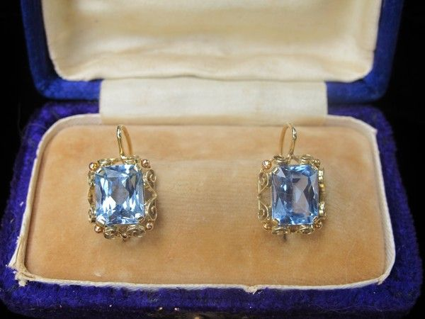 Four Karat Yellow Gold And Blue Topaz Earrings Dated At About Sold Ruby Lane
