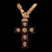 Antique Roman Micro Mosaic cross pendant depicting Roman sights, 19th century