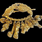 """Vintage BraVizilian """"Penca de Balangandan"""" symbolic slave brooch,gold plated, mid 20th century"""