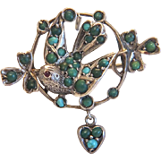 Victorian bird brooch with Turquoise cabochons, silver 800, 19th century