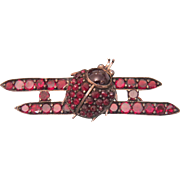 Victorian Garnet brooch, 9k rose gold, 19th century