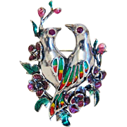 Vintage silver brooch with enamel, silver 925, mid 20th century