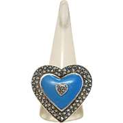 Vintage heart shaped Turquoise ring with Marcasites, silver 925, ca. 1930