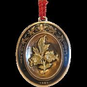Antique black enamel gilt silver locket/ brooch, 19th century