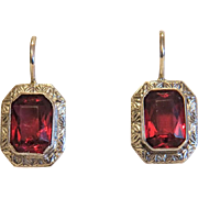 Vintage red Tourmaline earrings,silver 800, ca.1970