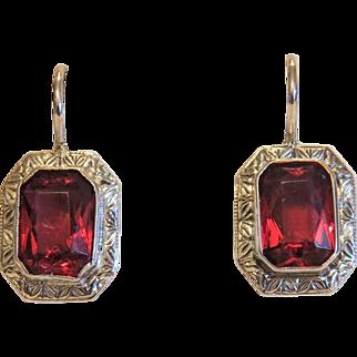 Vintage red Tourmaline earrings,silver 800, ca.1970