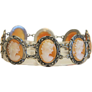 Vintage Camexco shell Cameo bracelet ,silver 800 ,Italy  ca. 1950