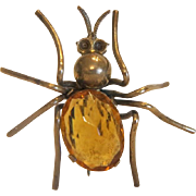Antique spider brooch with yellow Topaz body, gilt metal, 19th century