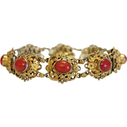 Antique red Coral bracelet, gilt silver, 19th century