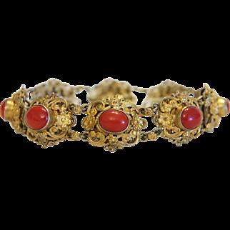 Antique red Coral bracelet, gilt silver, 19th century
