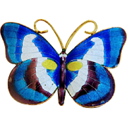 Vintage blue enamel butterfly brooch, gilt metal,ca.1930