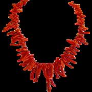 Vintage Mediterranean Coral branch necklace, ca. 1950