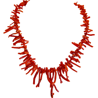 Vintage Mediterranean Coral branch necklace, ca. 1950