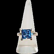 Vintage blue Topaz ring,925 silver, ca.1960