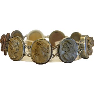 Antique Lava Cameo bracelet, plated silver, 19th century