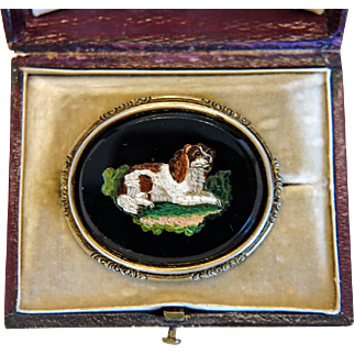 Antique Roman Micro Mosaic brooch depicting a Spaniel, silver, 19th century