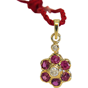 Vintage Ruby and Diamond flower pendant, 14 k yellow gold,ca.1960