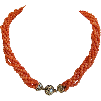 Antique six strand Coral bead necklace,silver closure, 19th century
