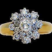 Vintage 0.75 ct Diamond ring,14k yellow gold, ca.1940